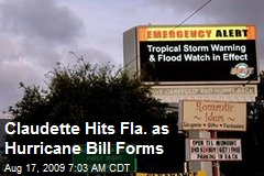 Claudette Hits Fla. as Hurricane Bill Forms