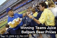 Winning Teams Juice Ballpark Beer Prices