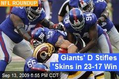 Giants' D Stifles 'Skins in 23-17 Win