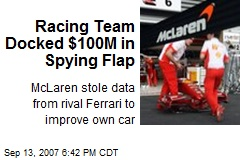 Racing Team Docked $100M in Spying Flap