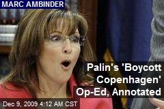Palin's 'Boycott Copenhagen' Op-Ed, Annotated