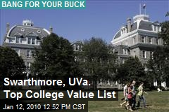 Swarthmore, UVa. Top College Value List