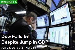 Dow Falls 56 Despite Jump in GDP