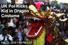 UK Pol Kicks Kid in Dragon Costume