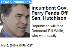 Incumbent Gov. Perry Fends Off Sen. Hutchison