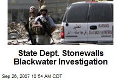 State Dept. Stonewalls Blackwater Investigation