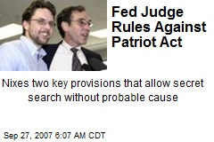 Fed Judge Rules Against Patriot Act