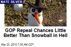 GOP Repeal Chances Little Better Than Snowball in Hell
