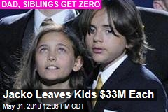 Jacko Leaves Kids $33M Each