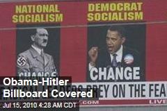 Obama-Hitler Billboard Covered