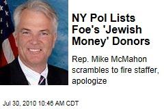 NY Pol Lists Foe's 'Jewish Money' Donors