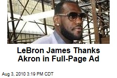LeBron James Thanks Akron in Full-Page Ad
