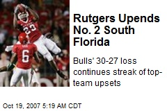 Rutgers Upends No. 2 South Florida