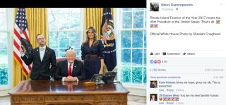 Teacher's Pic Showing LGBT Pride Next to Trump Goes Viral
