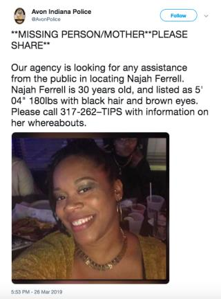 Indiana Police Looking for Missing Mom Najah Ferrell