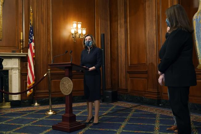 Pelosi's Lectern Is Back on the Job