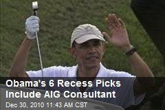 Obama's 6 Recess Picks Include AIG Consultant