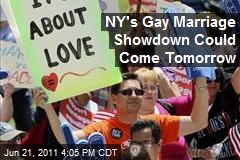 NY's Gay Marriage Showdown Could Come Tomorrow