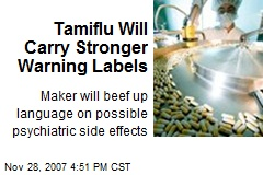 Tamiflu Will Carry Stronger Warning Labels