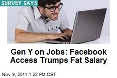 Gen Y on Jobs: Facebook Access Trumps Fat Salary