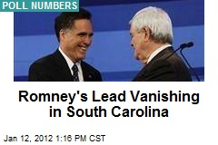 Romney's Lead Vanishing in South Carolina