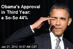 Obama's Approval in Third Year: a So-So 44%
