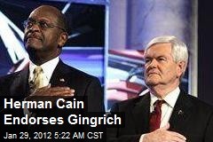 Herman Cain Endorses Gingrich