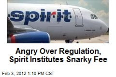 Angry Over Regulation, Spirit Institutes Snarky Fee