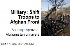 Military: Shift Troops to Afghan Front