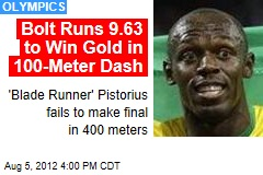 Bolt Runs 9.63 to Win Gold in 100-Meter Dash