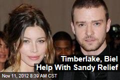Timberlake, Biel Help With Sandy Relief