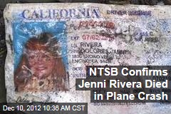 NTSB Confirms Jenni Rivera Died in Plane Crash