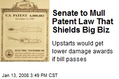 Senate to Mull Patent Law That Shields Big Biz