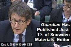 Guardian Has Published Just 1% of Snowden Materials: Editor