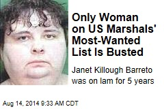 Only Woman on US Marshals' Most-Wanted List Is Busted