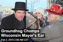 Groundhog Chomps Wisconsin Mayor's Ear