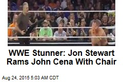 WWE Stunner: Jon Stewart Rams John Cena With Chair