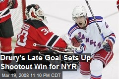 Drury's Late Goal Sets Up Shootout Win for NYR