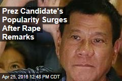 Prez Candidate's Popularity Surges After Rape Remarks