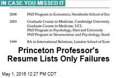 Princeton Professor's Resume Lists Only Failures