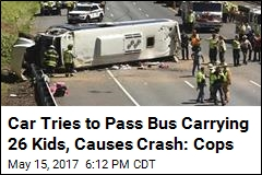 Bus With 26 Kids Inside Overturns After Car Clips It