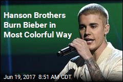 Hanson Brothers Burn Bieber in Most Colorful Way