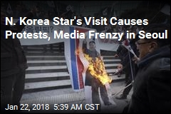 Protesters Burn Kim's Photo as N. Korea Star Visits Seoul