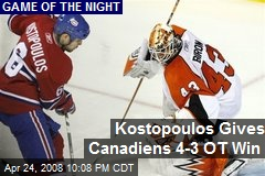 Kostopoulos Gives Canadiens 4-3 OT Win