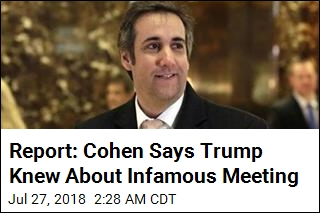 Report: Cohen Says Trump Knew About Infamous Meeting