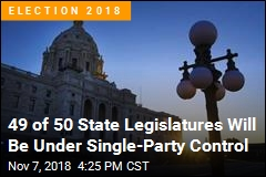49 of 50 State Legislatures Will Be Under Single-Party Control
