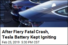 After Fiery Fatal Crash, Tesla Battery Kept Igniting