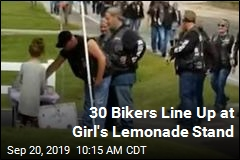 30 Bikers Line Up at Girl's Lemonade Stand