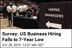 Survey: US Business Hiring Falls to 7-Year Low