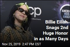 Billie Eilish Snags 2nd Huge Honor in as Many Days